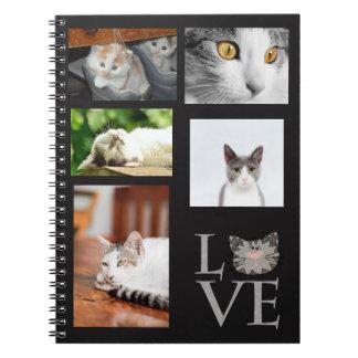 Personnalisé, amour, carnet gris de visage de chat