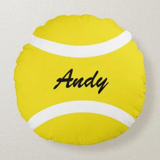 Personnalisé autour du carreau jaune de balle de coussins ronds