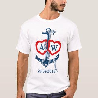 Personnalisé épousant l'ancre nautique de T-shirt