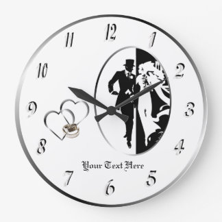 Personnaliser blanche noire classique d'horloge grande horloge ronde
