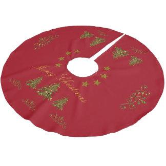 Personnalisez, arbre de Noël scintillant, lune, Jupon De Sapin En Polyester Brossé