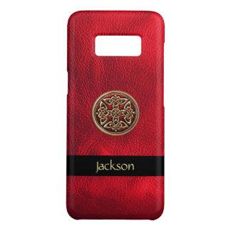 Personnalisez le noeud celtique simili cuir rouge coque Case-Mate samsung galaxy s8
