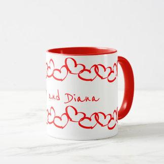 Personnalisez :  Rayures rouges de coeur de Mug