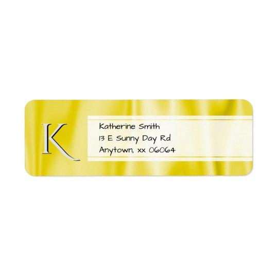 Personnalisez :  Texture jaune de tissu de satin Étiquette D'adresse Retour