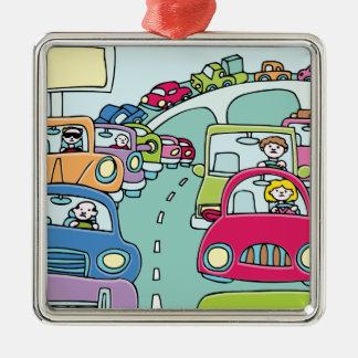 Personnes d'embouteillage ornement carré argenté