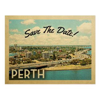Perth Australië bewaart de Datum Vintage Briefkaart