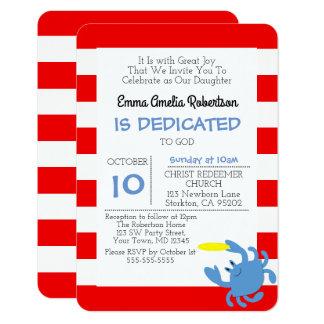 Petit baptême personnalisé par crabe nautique carton d'invitation 8,89 cm x 12,70 cm
