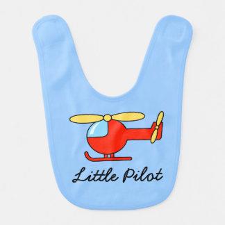 Petit bavoir pilote de bébé avec l'hélicoptère de