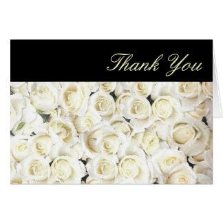 Petit carte de remerciements de roses blancs