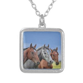 Petit collier plaqué de têtes de cheval d'argent