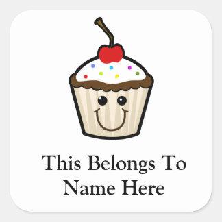 Petit gâteau de visage de sourire sticker carré