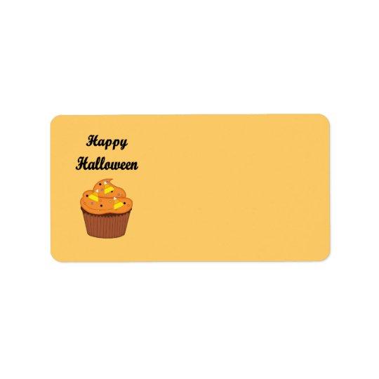 Petit gâteau heureux de Halloween Étiquette D'adresse