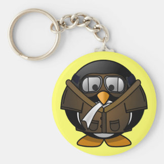 Petit pingouin pilote animated mignon porte-clés
