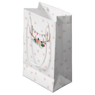 Petit Sac Cadeau Andouillers roses et anniversaire de la fille