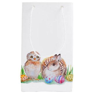 Petit Sac Cadeau Art de Pâques de hibou et de lapin