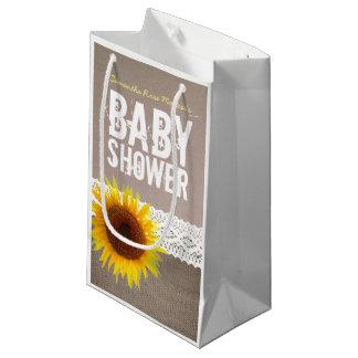 Petit Sac Cadeau Baby shower de dentelle de toile de jute et de