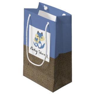 Petit Sac Cadeau Baby shower de toile de jute de Fox bleu