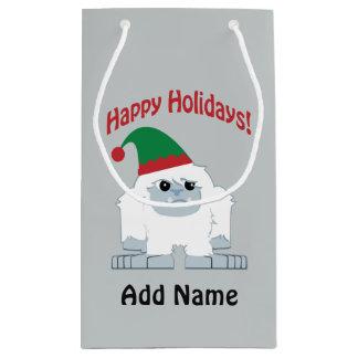 Petit Sac Cadeau Bonnes fêtes ! Yeti de Noël