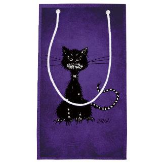 Petit Sac Cadeau Chat noir mauvais en lambeaux pourpre gothique