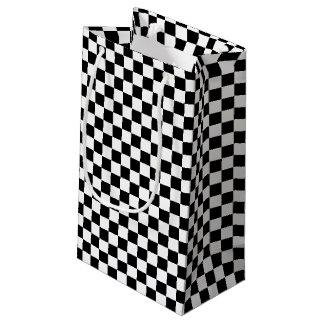 Petit Sac Cadeau Conception Checkered noire et blanche
