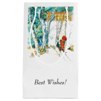 Petit Sac Cadeau Femme mettant sur ses skis
