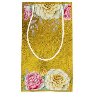 Petit Sac Cadeau Feuille d'or avec les roses vintages