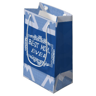 Petit Sac Cadeau Maman personnalisable de bleu marine meilleure