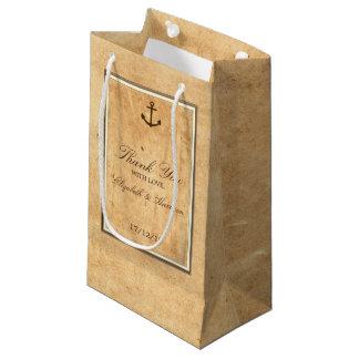 Petit Sac Cadeau Mariage de papier vintage encadré par ancre