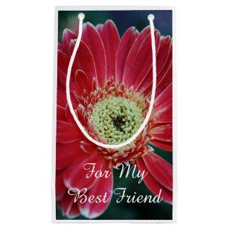 Petit Sac Cadeau Meilleur ami rouge de fleur de Gerbera
