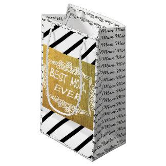 Petit Sac Cadeau Meilleure maman d'or noire et blanche chique