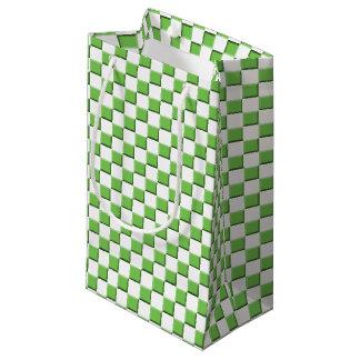 Petit Sac Cadeau Motif vérifié par vert