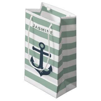 Petit Sac Cadeau Motifs de menthe d'ancre et de roue de bateaux