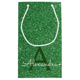 Petit Sac Cadeau Nom et initiale verts de monogramme de parties