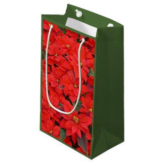 Petit Sac Cadeau Photo florale des poinsettias I de vacances rouges