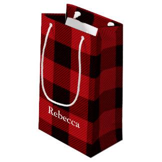Petit Sac Cadeau plaid rouge de bûcheron de buffle de Noël de