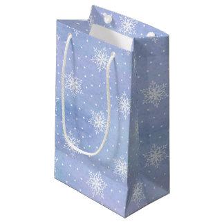 Petit Sac Cadeau Pois blanc pourpre de flocons de neige de ciel