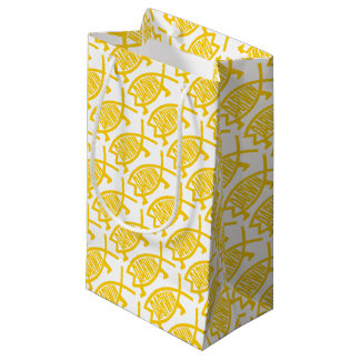 Petit Sac Cadeau Poissons originaux de Darwin (moutarde)