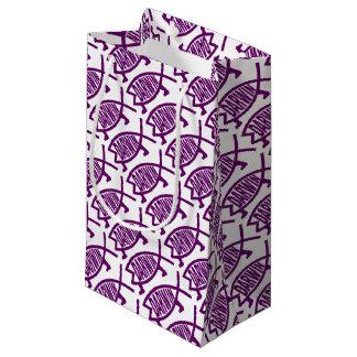 Petit Sac Cadeau Poissons originaux de Darwin (violets)