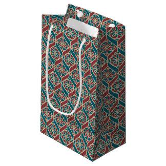 Petit Sac Cadeau Rouge foncé, motif ethnique turquoise, fleurs,