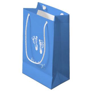 Petit Sac Cadeau Ses empreintes de pas nouveau-nées bleues