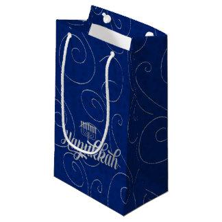 Petit Sac Cadeau SM - Remous bleus et argentés de Hanoukka