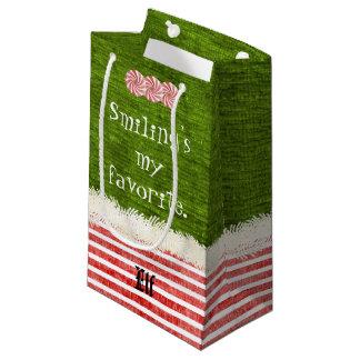"""Petit Sac Cadeau """"Souriant ma"""" citation préférée d'Elf de Noël (s)"""