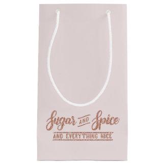 Petit Sac Cadeau Typographie rose de scintillement d'or de sucre et