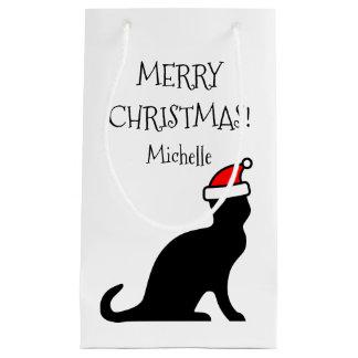 Petit Sac Cadeau Vacances personnalisées de chat de Père Noël de
