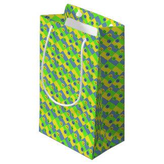 Petit Sac Cadeau Visages souriants heureux vert, jaune et bleu