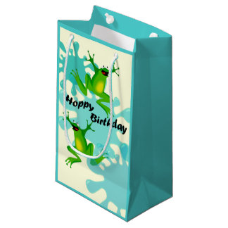 Petit sac de cadeau de grenouille de houblon drôle