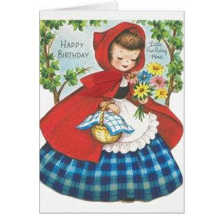 Petite carte d'anniversaire rouge vintage de