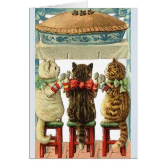 Petite carte de note de tarte de souris de chatons