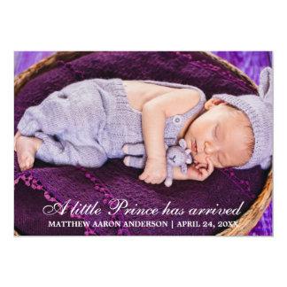 Petite carte de prince New Baby Photo Announcement Carton D'invitation 12,7 Cm X 17,78 Cm