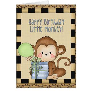 Petite carte de voeux de singe de joyeux